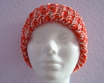 Orange and White Knitted Ribbed Hat with Chunky Brim