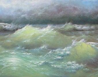 """270 - """"Restless Ocean"""" , 8"""" x 16"""" original giclee print"""