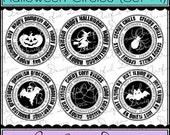 Digital Printable Stamps, Sentiments, Word Art, Clip Art, Card Making, Scrapbooking  -Set of 6 -HALLOWEEN CIRCLES -SET 1