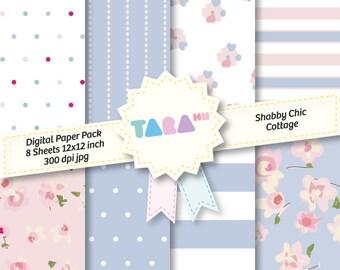"Shabby Chic Cottage Digital Scrapbook Paper, 8 files Digital Scrapbooking, 8 jpg files 12""x12"" DIY Craft Kit Digital Paper Cottage Chic Blue"