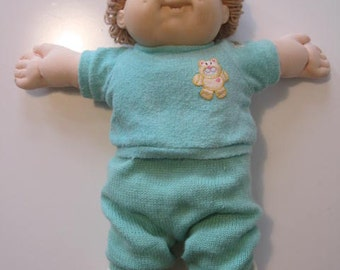 Cabbage Patch Kids Doll Boy 1983 Head Mold #10 Coleco KT Blue Eyes Beige Hair with Original Clothes  E429Bs