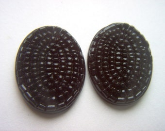 Vintage Large Black Flat Backed Textured 30 x 22mm Glass Cabochons 2  # B 7- 13