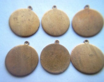 Vintage Oxidized Brass Round Pendants x 6
