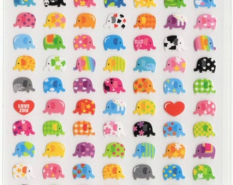 Kawaii Japan Sticker Sheet Assort: Animal Love Series  Mini Elephant Point Stickers