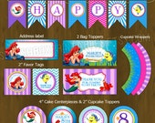 Ariel Mermaid Printable Birthday Party Package - The Little Mermaid Complete Birthday Set - Invitation, cupcake toppers, banner etc