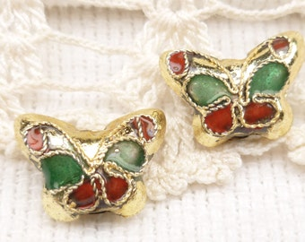 Gold Butterfly Cloisonne Beads (4)