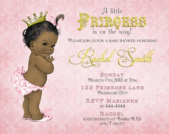African American Girl Baby Shower Invitation - FREE Thank You Card Printable - Vintage Pink Gold Royal Baby Girl Shower Invite - Princess