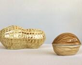 Walnut Peanut nut vintage ceramic trinket box jewelry boxes stash nut bowl nut box collectible ring boxes set of 2