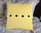 Hand knitted yellow pillow case, classic autumn maze pattern, pillow not included