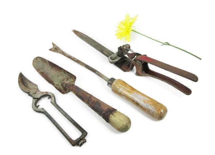 Rusty Garden Tools Lot Pruners Trowel Shears Weeder