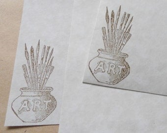 Parchment paper stationery set. Artsy writing paper hand stamped with a jar of paintbrushes, set of 30.