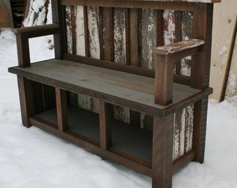 Reclaimed Backed & Armed Entry Bench