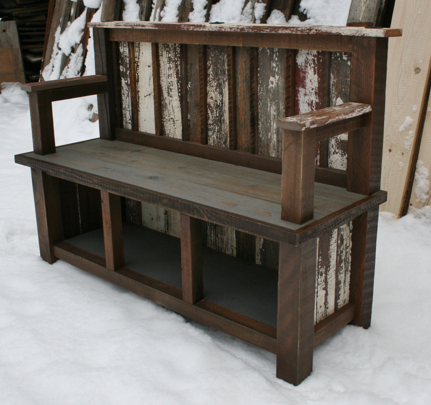 Long Wooden Bench With A Back Almirah Beds
