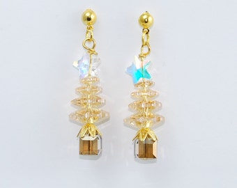 """Christmas Tree Earrings """"Silent Night"""" with real Swarovski Crystals gold and champagne"""