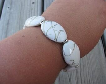 JEWELRY SALE-  White Beaded Bracelet- large beads