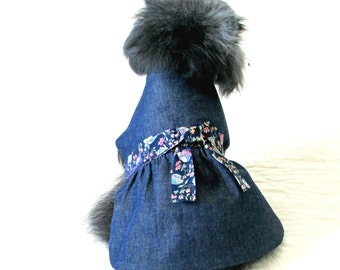 Small Dog Dress, Denim Small Dog Dress,  Made to Order, Ribbon Trim and Satin Roses, Toy & Teacup Sizes