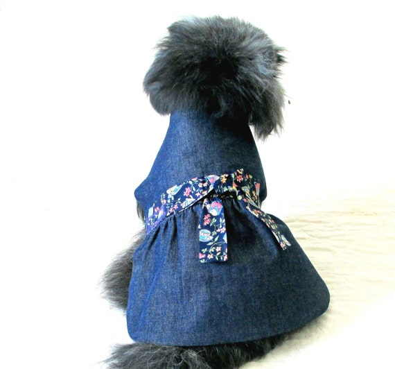 Small Dog Pet Clothes Denim Made to Order Indigo Dress , Ribbon Trim and Satin Roses Toy & Teacup Sizes