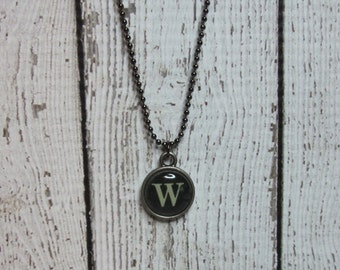 Initial W Charm Necklace, Vintage Style Typewriter Key Charm, Mini Initial Charm Necklace, Letter W on Ball Chain