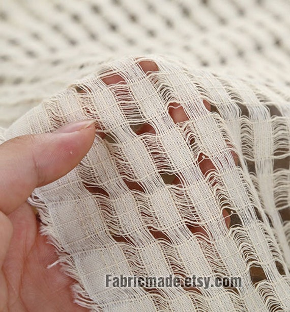Sale - Unique Hollowed Plaid Cotton Fabric in Off White- Fabric by the Yard One yard