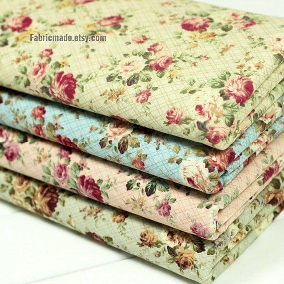 "Flower Fabric/ Cotton Fabric/ Shabby chic/ Flower Cotton/ Green Pink Blue Fabric/ Spring Fabric/ Rose Fabric - 1/2 yard 18""X59"""