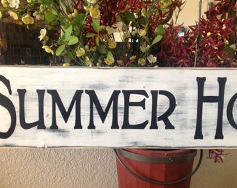 Summer House, wood primitive sign, beach, river lake, bbq, cottage, welcome signs, swim, boat, ski, home decor, gift ideas