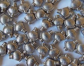 Art Deco Style Silver Shell Beads