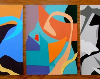 Abstract collage tryptic 3 - 6x8""