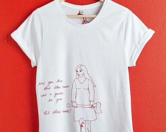 T-Shirt white, printed, organic, fair- trade