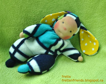"SALE! Fretta's Original Waldorf style floppy Bunny Baby, 11"" / 28 cm tall. Soft child friendly baby doll."