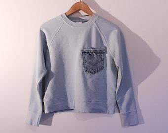 Studded Sweatshirt Top Sky Blue Silver spikes