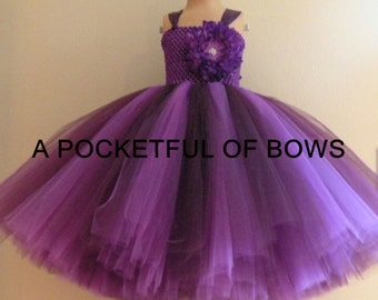 Plum and Purple Flower Girl Tutu Dress Toddler, Long Tutu Dress, Girls Party Dress, Formals