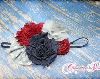 Navy, Grey, Burgundy Hair Bow, Baby Headband, Gray, Girl's Hair Accessory, Fabric Flower Headband, Infant Headband, Maroon, White, Hair Clip