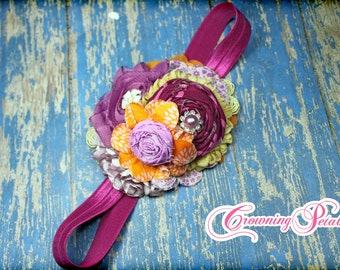 Raspberry, Fuchsia, Orange Headband, Fabric Flower Hair Accessories, Vivid Orchid, Purple, Plum Hair piece, Baby Hair Accessory, Hair Clip