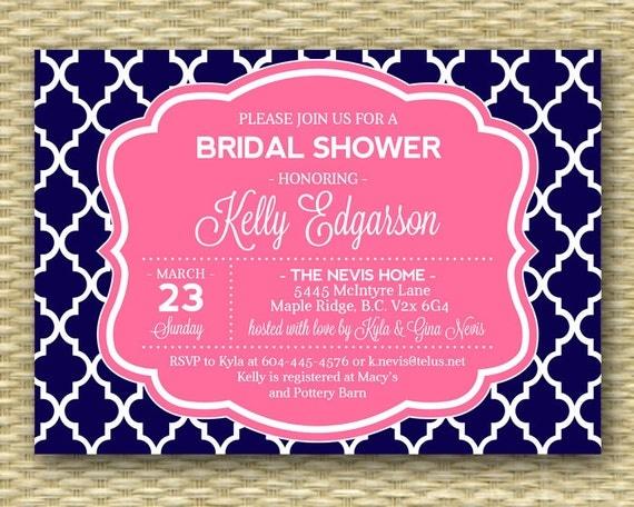 Navy Pink Bridal Shower Invitation Nautical Wedding