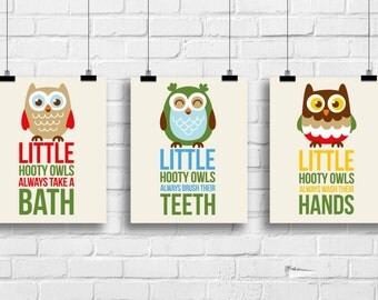 Hooty owls always take a bath, owls nursery decor, Kids bathroom Decor, Kids Wall Art, Baby Decor, Nursery print, woodland decor, kids art