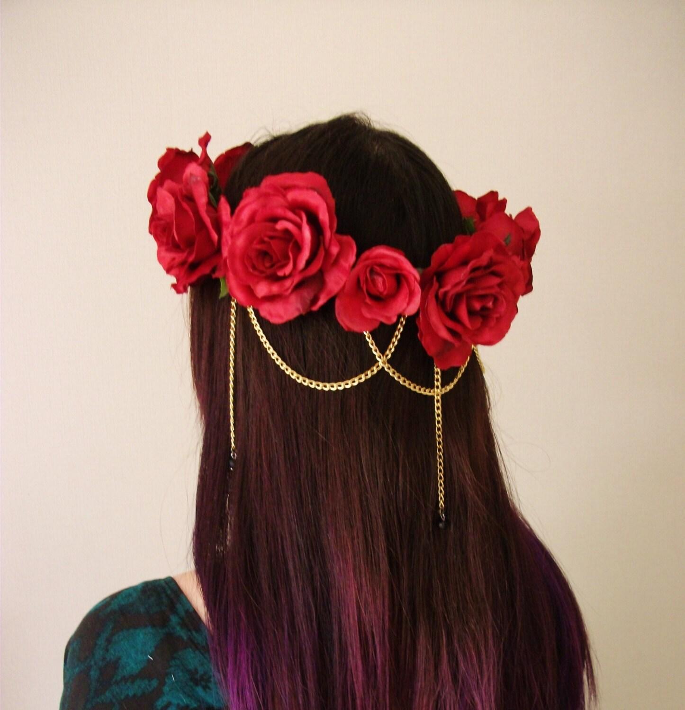 Red Rose Flower Crown Hair Chain Swarovski by MissWildFlowers