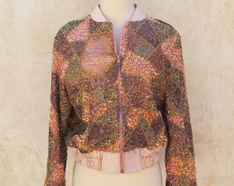Vintage 80s Funky Jacket  - Pink Satin & Iridescent Beads / Sequins / Netting - Womens Size XS / S