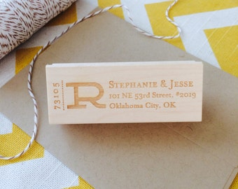 "Monogram Address Stamp, Large letter address stamp, 3 x 1"" Address Stamp"