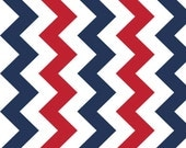 "Riley Blake Manufactures Cut - Medium ""Chevron"" 100% cotton, pattern C320-06 PATRIOTIC Pattern measures 2"" point to point. 57""/58"" wide"