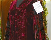 5 02 Embroidered Red Velvet Refashioned Blouse with Bell Sleeves