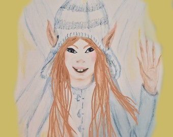 INSTANT DOWNLOAD, Little Faerie with knit hat