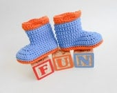 Baby Rain Boots Galoshes Gum Boots Wellies Bright Blue and Orange Organic Baby Booties Spring Boy or Girl Soft Soled Shoes Prewalker 6 month