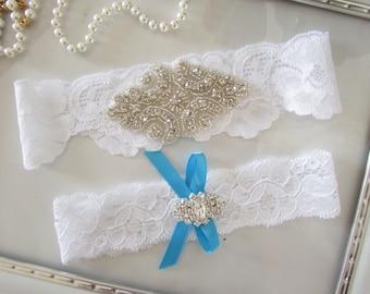 SALE Wedding Garter, Bridal Garter, Garter - /White or Ivory Garter lace Set with Pearl & Metal Rhinestone