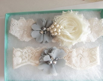 SALE Wedding Garter .. Gray/Ivory Garter .. Bridal Garter .. Wedding Garter Set .. Toss Garter .. Vintage Garter .. Lace Garter Style # 2830