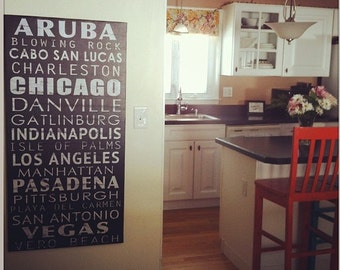 Vintage Subway Style Sign,  Bus scroll, Vintage scroll, List of your favorite places, Personalized