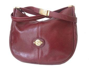 FRENCH BURGUNDY BAG shoulder / half moon genuine leather