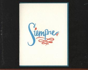 Siempre letterpress card