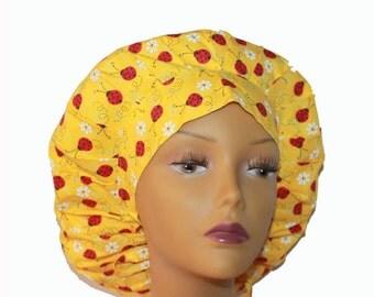 Bouffant Scrub Hat with ties - Ladybug with Daisy fabric bouffant scrub hat - Ponytail Scrub hat - Custom Scrub Hat - Personalized Scrub hat