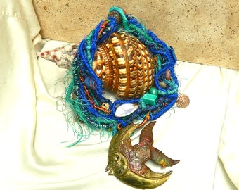 Necklace ART JEWELRY Collar Bronze Fish Felt Beads Shells Charms Royal Blue and Aqua Hand Woven Sculptural 1993