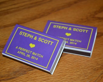 "100 Custom Designed Matchbox Wedding Favor Matchboxes - ""LSU Style"""
